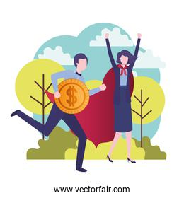 business couple with hero coat and currency
