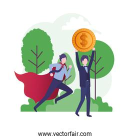 businessmen with hero coat and currency