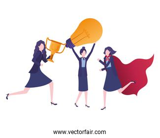 businesswomen with trophy and light bulb