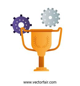 trophy with gears isolated icon
