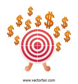 dollar symbol with target shooting isolated icon