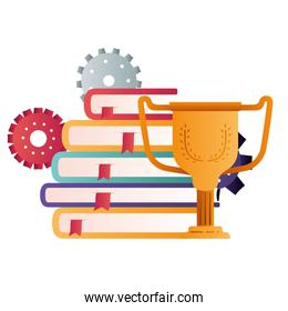 books with trophy isolated icon