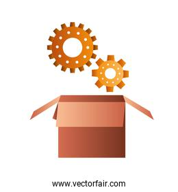 cardboard box with gear isolated icon