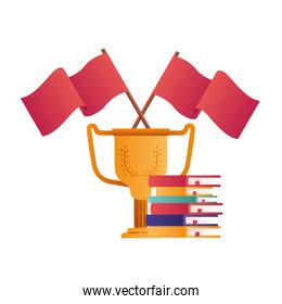 books with trophy cup isolated icon