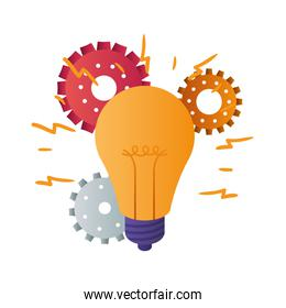 light bulb with gear isolated icon