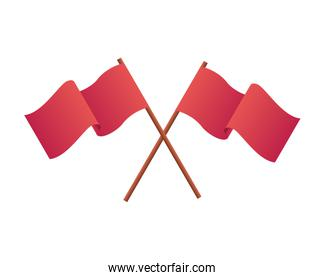 red flags waving isolated icon