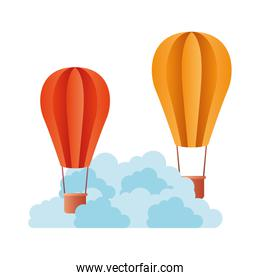hot air balloon with clouds isolated icon