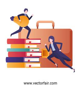 business couple with suitcase avatar character