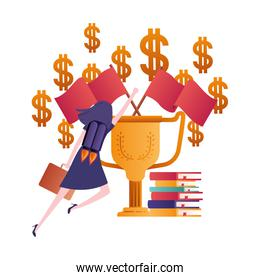 businesswoman with trophy and books avatar character