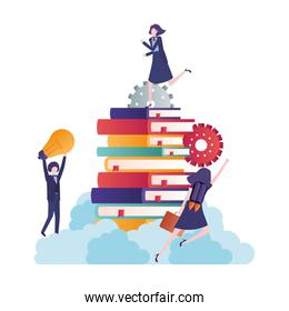 group of business people with stack of books