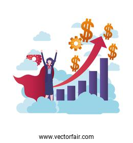 businesswoman with hero and graph with arrow over white