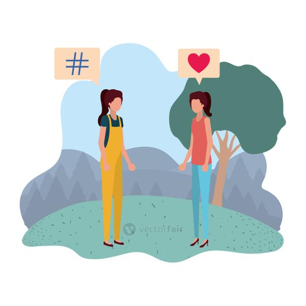 women in landscape with speech bubble avatar character