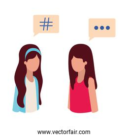 women talking with speech bubble avatar character