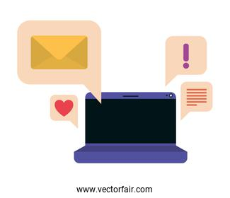 laptop screen with speech bubble isolated icon