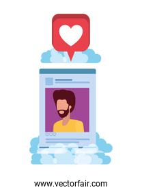 profile social network man with speech bubble