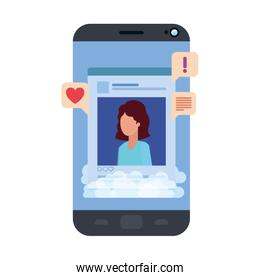 device screen with social network profile and speech bubble