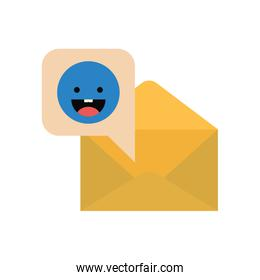 envelope with speech bubble isolated icon