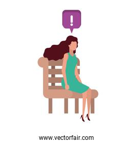 woman sitting on bench with speech bubble