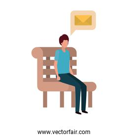 man sitting on bench with dialogue bubble