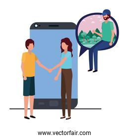 group of people with device screen avatar character