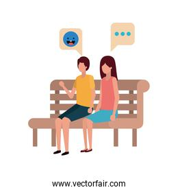 couple sitting in park chair avatar character