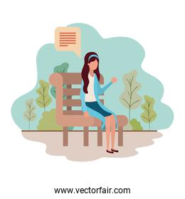 young woman with park chair with landscape