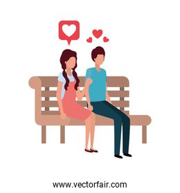 couple sitting on park chair with hearts character