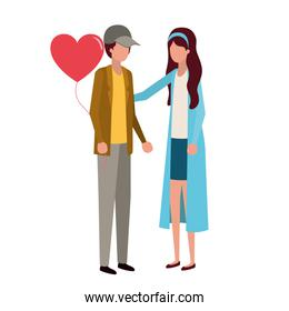 couple holding hands with hearts character