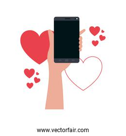 hand with smartphone and hearts icons