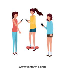 young women with smartphone avatar character