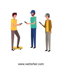 young men with smartphone avatar character