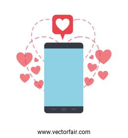 smartphone screen with hearts avatar character