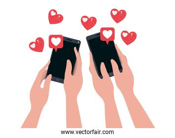 hands with smartphone and hearts isolated icon