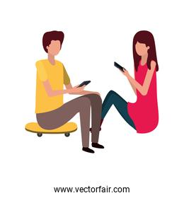 couple sitting with smartphone avatar character