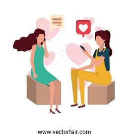 women sitting with smartphone and heart character