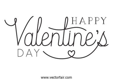 happy valentines day label isolated icon