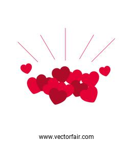 love card with hearts isolated icon
