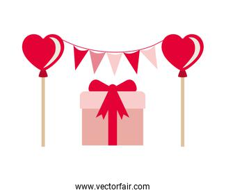 party garland with gift box isolated icon