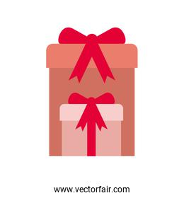 gift boxes with ribbon isolated icon