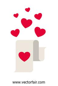 gift list with hearts isolated icon