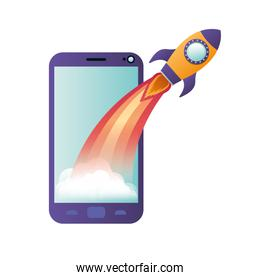 smartphone screen with flying rocket isolated icon