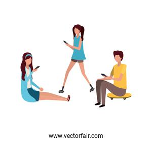 group of people with smartphone avatar character
