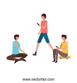 men sitting with smartphone avatar character
