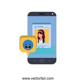 device screen with social network profile avatar character