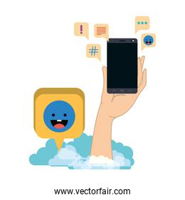 hands with smartphone isolated icon