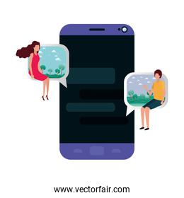 device screen with young couple sitting avatar character