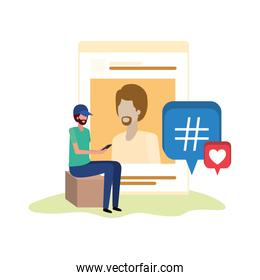 person sitting with social network profile avatar character