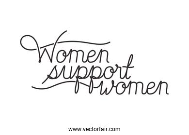 women support women label isolated icon