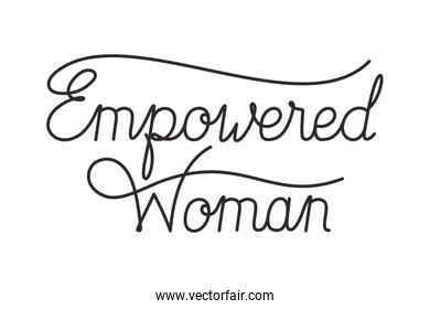 empowered woman label isolated icon