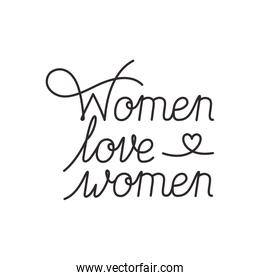 women love women label isolated icon